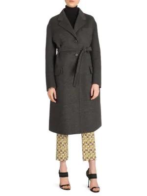 Prada Wool-Blend Belted Coat In Grey