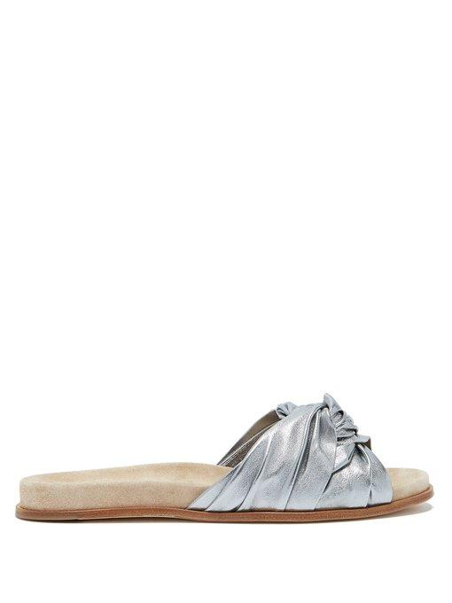 Prada Knot-Detail Leather Slides In Silver