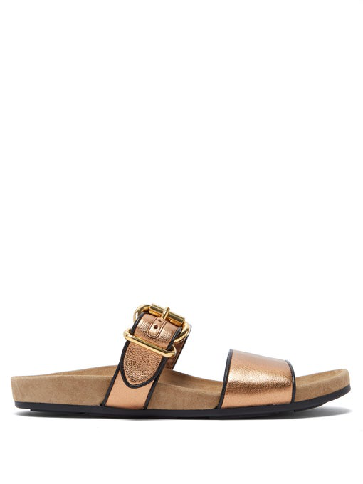 Prada Double-Strap Metallic Leather Slides In Bronze