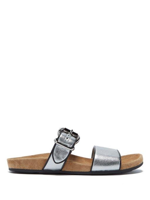 Prada Double-Strap Metallic Leather Slides In Silver