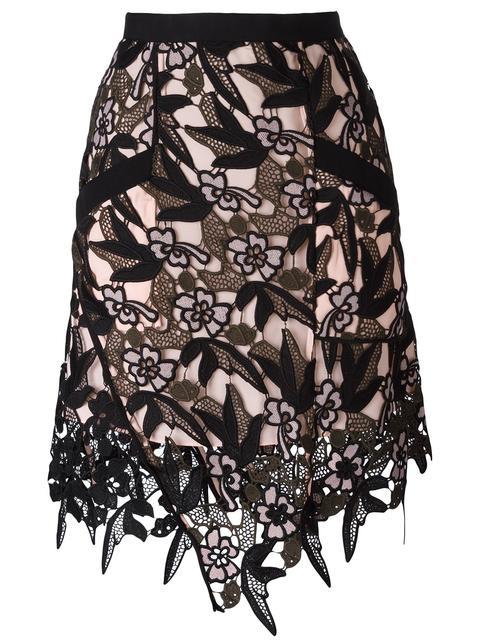 Self-portrait 'nina' Floral Guipure Lace Skirt In Multi