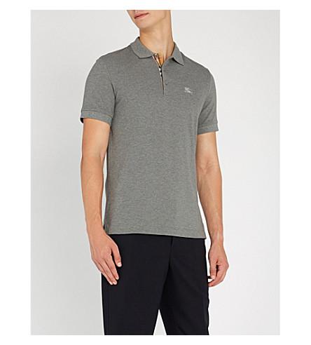 Burberry Hartford Checked Cotton-PiquÉ Polo Shirt In Mid Grey