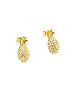 6e52cdddd6ad4 Pavé Pineapple Mini Stud Earrings in Gold