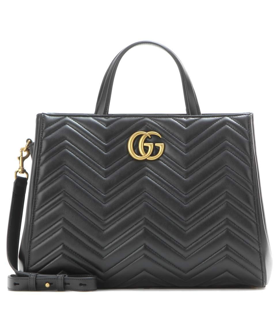 99a242d993ebe Gucci Gg Marmont Medium Matelasse Leather Top Handle Shoulder Bag - Black