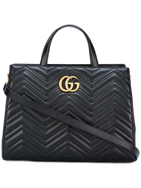 13f108ebb7c8 Gucci Gg Marmont Medium Matelasse Leather Top Handle Shoulder Bag - Black