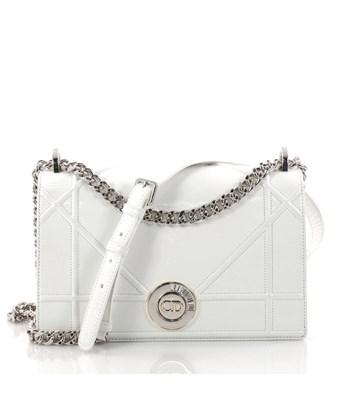 57ed736a116b Dior Pre-Owned  Ama Clasp Flap Bag Crinkled Lambskin Medium In White ...