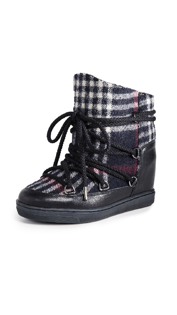 Isabel Marant Nowles Plaid-Print Snow Boots In Midnight