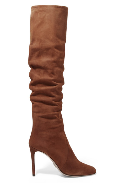 Prada Suede Over-The-Knee Boot In Bruciato