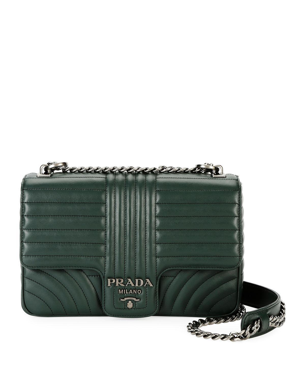 423bab55c9af Prada Diagramme Leather Shoulder Bag Smeraldo In Green