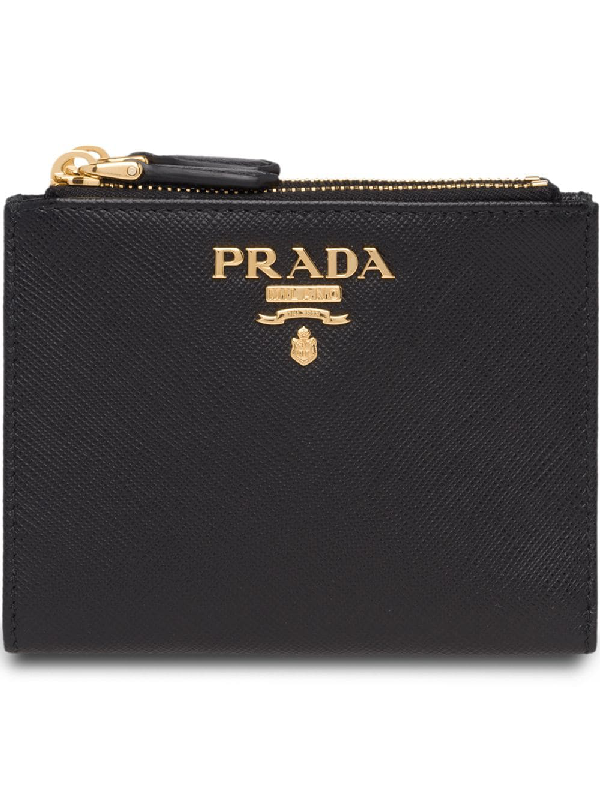 70b6990ce1d9 Prada Compact Bi-Fold Saffiano Leather Wallet In Black | ModeSens