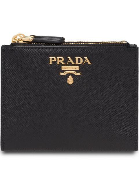 67d1e7e50f Compact Bi-Fold Saffiano Leather Wallet in Black