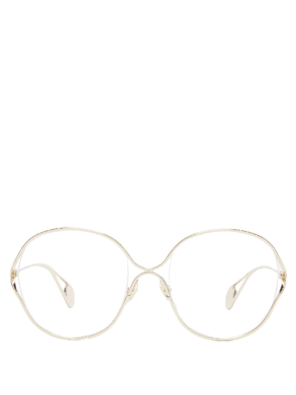 Gucci Round-frame Metal And Faux Pearl Glasses In Gold