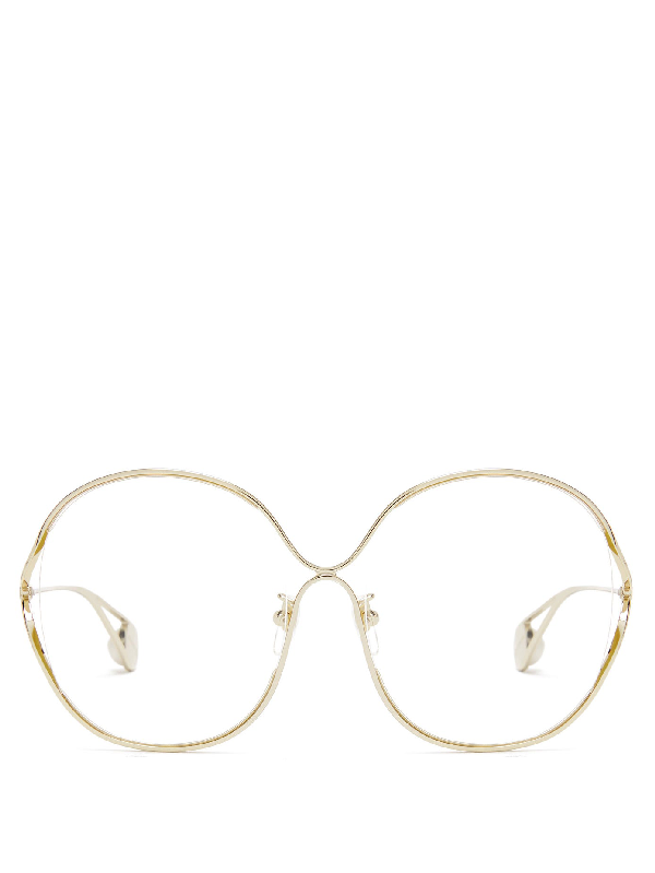 Gucci Round-frame Metal And Faux Pearl Glasses In Clear