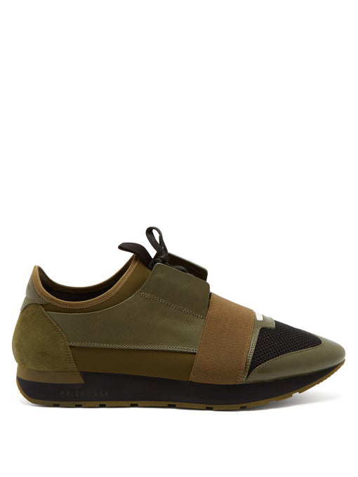 Race Runner Leather, Neoprene, Suede And Mesh Sneakers Green in Olive Green
