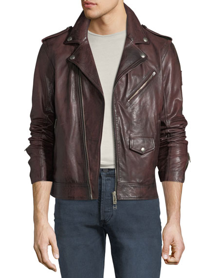 cae53e767 Men's Sidmouth Hand-Wax Leather Jacket in Dark Red