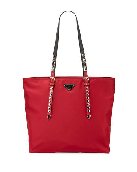 4f63aa94bccb Prada Black Nylon Shopper With Studding In Red Pattern | ModeSens