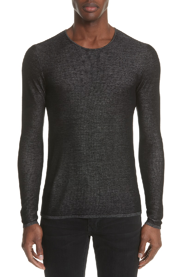 John Varvatos Double Face Crewneck Sweater In Black