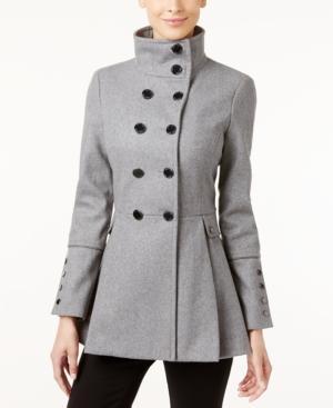 Calvin Klein Petite Stand-collar Skirted Peacoat In Grey