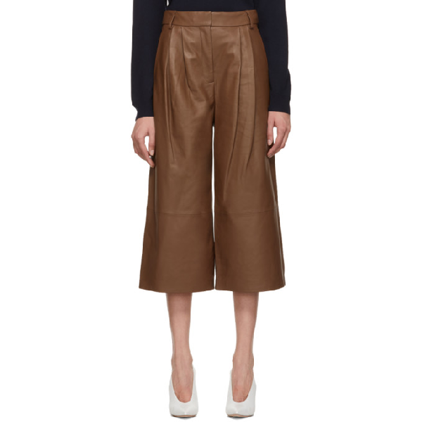 Tibi Stella Leather Cropped Trousers In Chocolate B