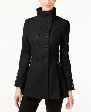 Calvin Klein Stand-collar Skirted Peacoat In Black