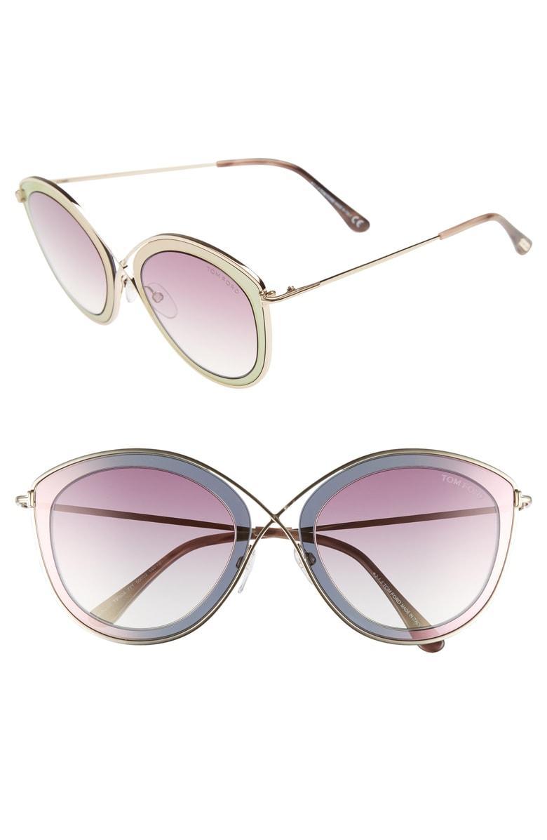 d841455d686e0 Tom Ford Sascha 55Mm Butterfly Sunglasses - Fuxia  Gradient Bordeaux ...