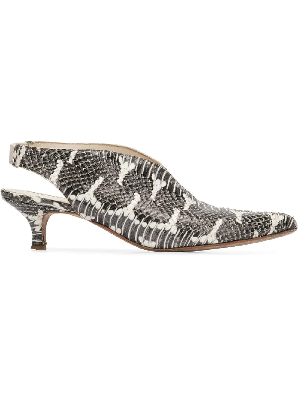 Tibi Max Embossed Leather Slingback Pumps In Grey