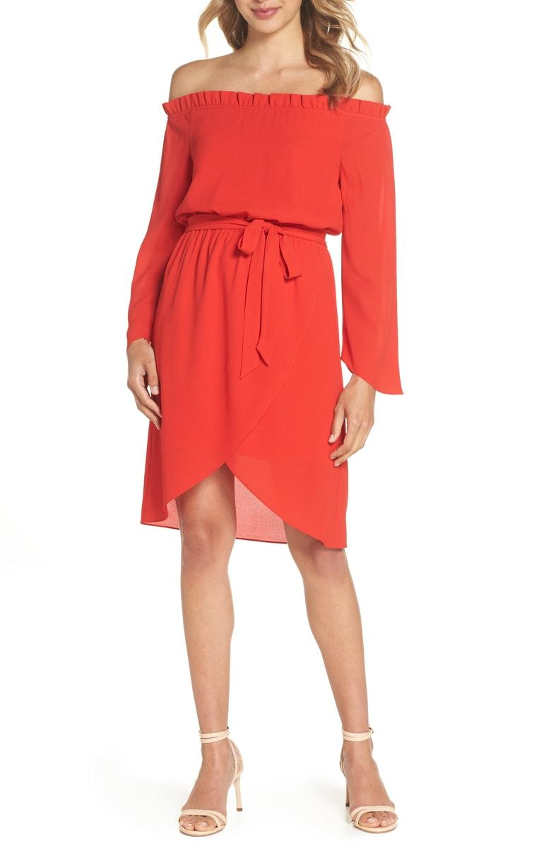 Get Me To The Greek Off The Shoulder Dress in Red