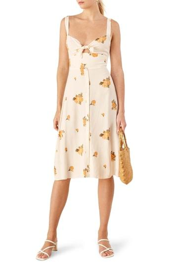 7a471683c1 Reformation Frankfort Tie Bodice Dress In Constance
