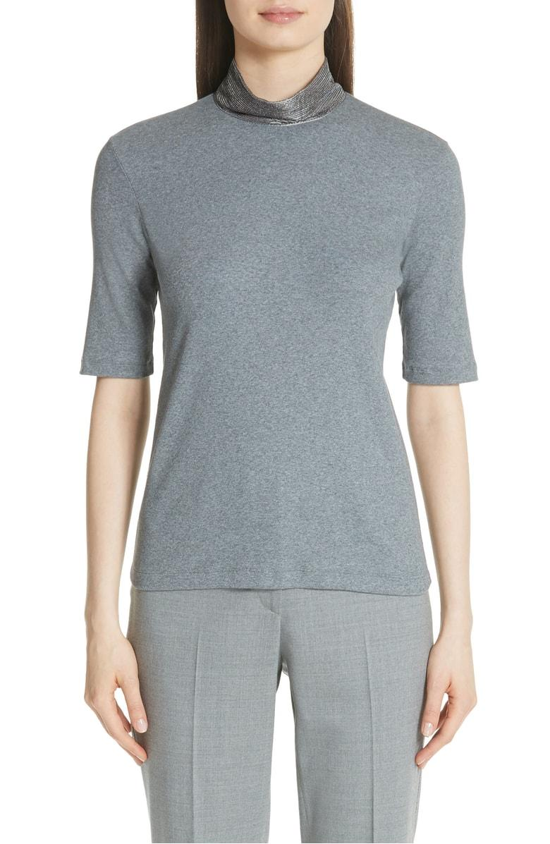 5fe14d323fef7 Fabiana Filippi Beaded Mock Neck Top In Grey