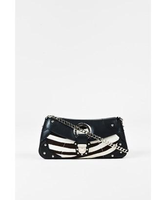 581af3d79c99 DOLCE & GABBANA. Pre-Owned Black Leather Cream Calf Hair Zebra Chain  Shoulder Bag in Black;Animal Print