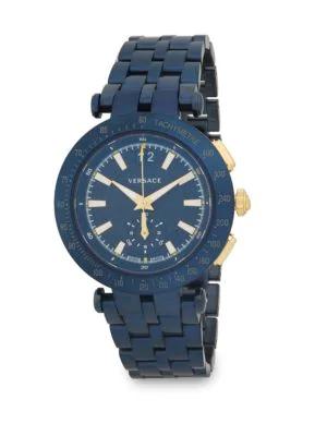 Versace Stainless Steel Bracelet Watch In Blue