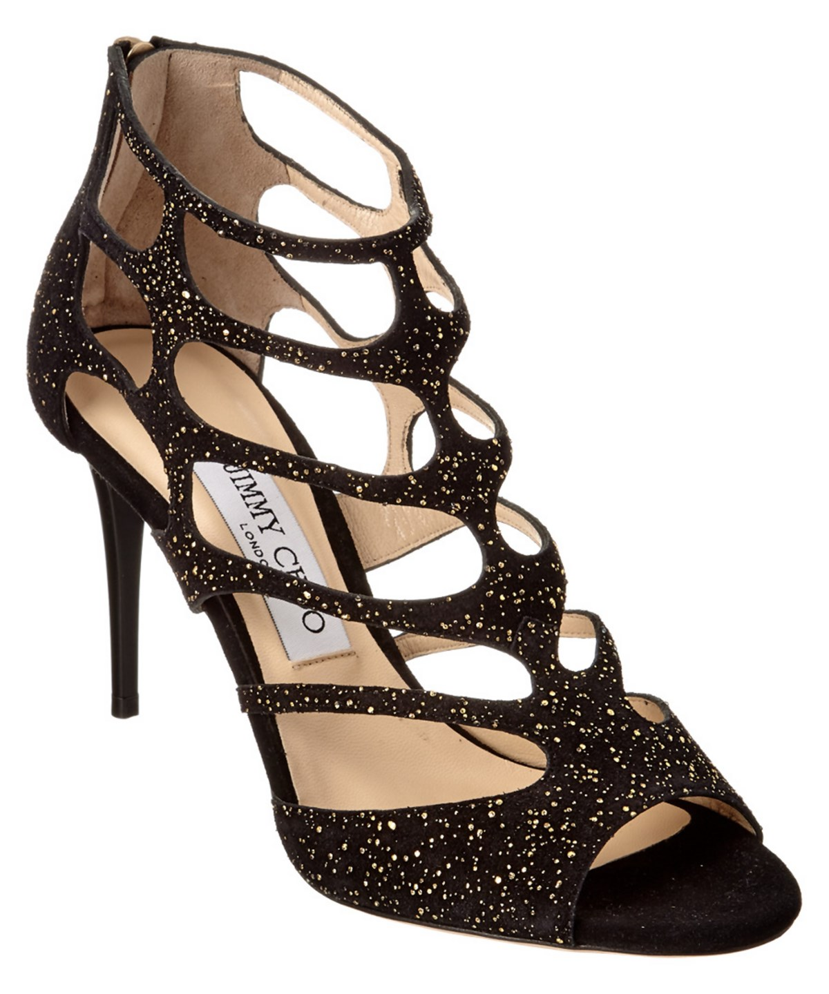 Jimmy Choo Gentle Souls Beverly Suede Sandal In Black/gold