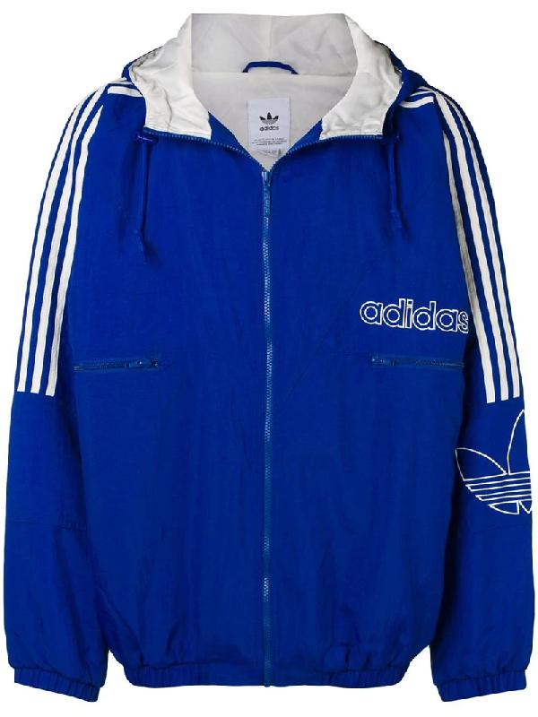Adidas Trefoil Outline Jacket In Blue