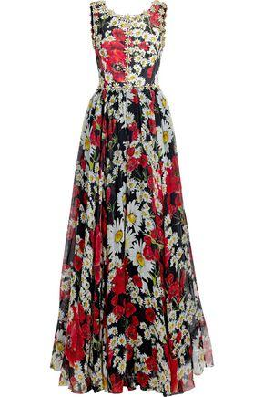 Dolce & Gabbana Woman Embellished Floral-Print Silk-Blend Jacquard And Chiffon Gown Red