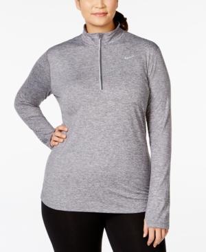 Nike Plus Size Element Dri-fit Half-zip Top In Grey