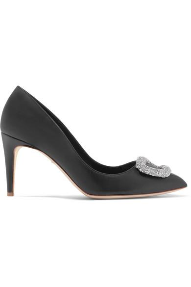 Rupert Sanderson Nada Swarovski Crystal-Embellished Leather Pumps In Black