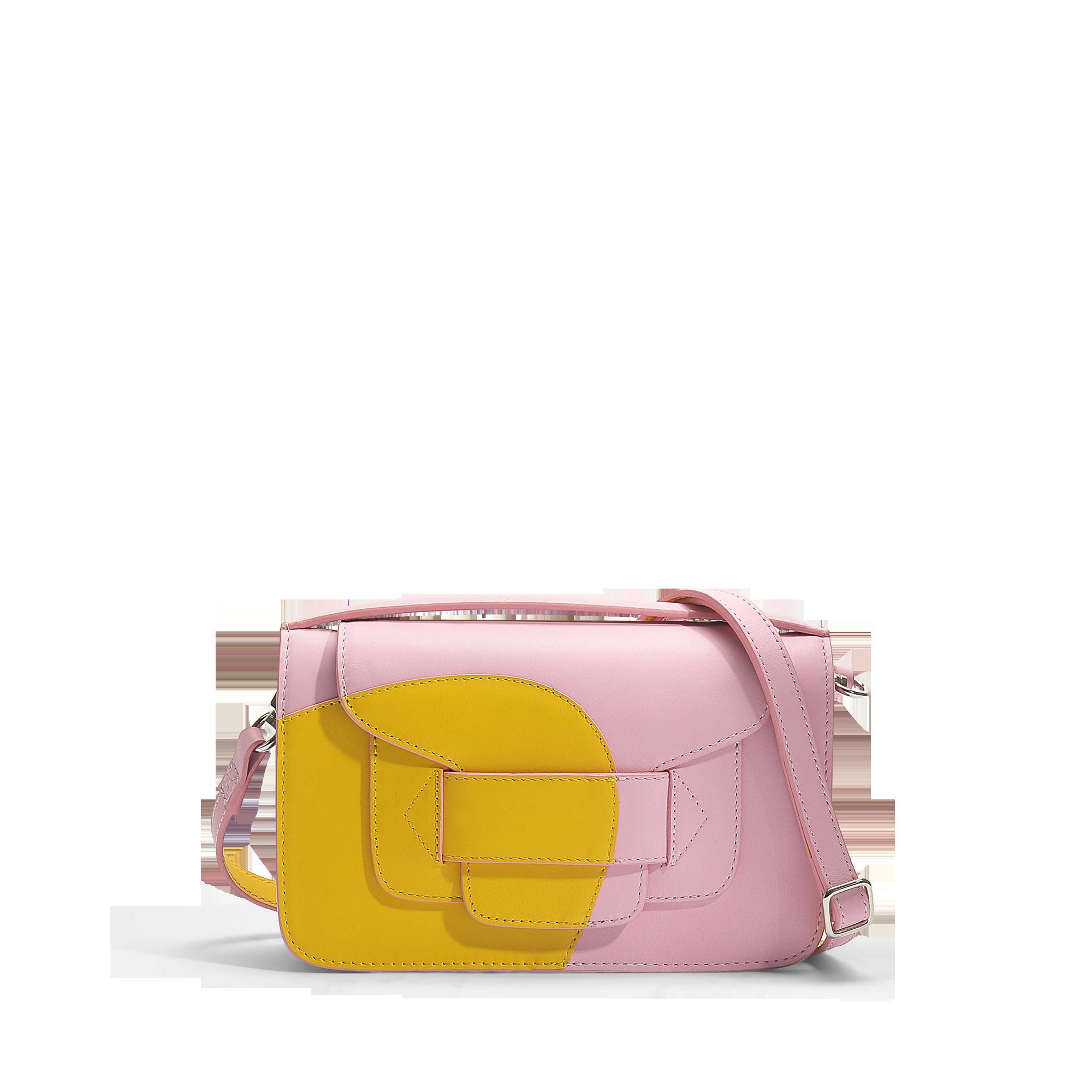 Pierre Hardy H Clutch Bag In Yellow Pink Calfskin