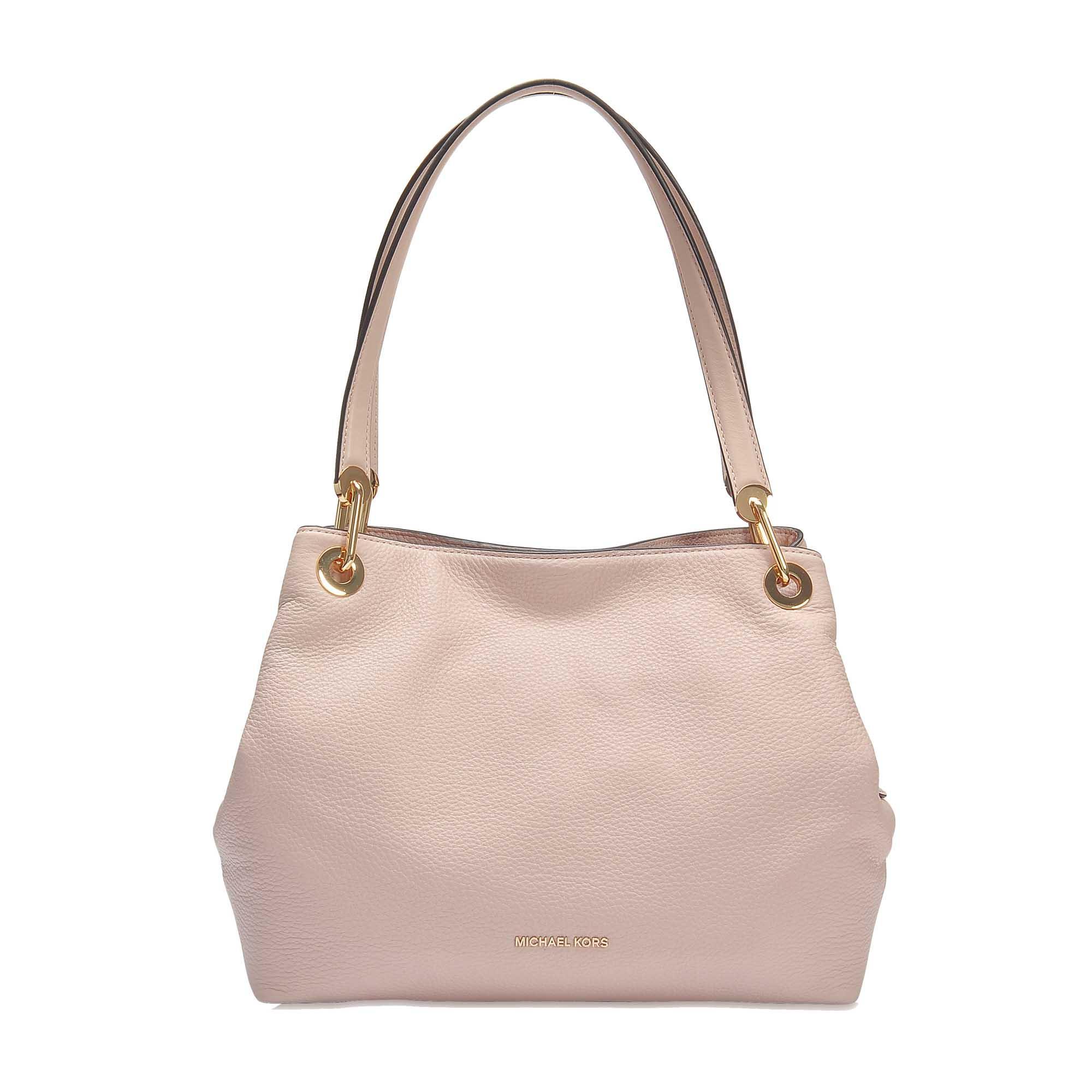 897336d70f12 Michael Michael Kors   Raven Large Shoulder Tote Bag In Black Pebble Leather  In Pink