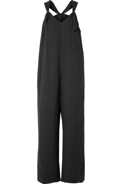 Hatch Noa Linen-Blend Jumpsuit In Black