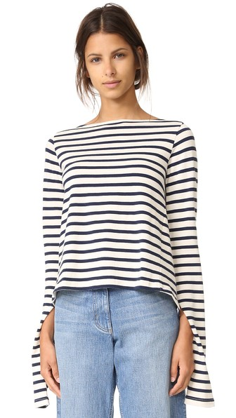 Jacquemus Sailor Top In White & Navy Stripes