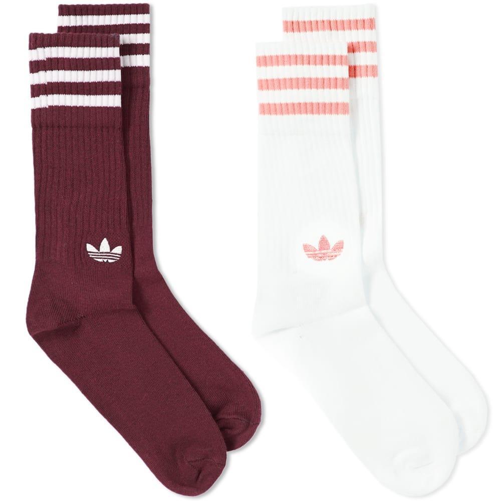 87b5ec5bc Adidas Originals Adidas Solid Crew Sock - 2 Pack In Burgundy   ModeSens