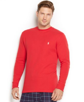 Polo Ralph Lauren Men's Solid Waffle-knit Crew-neck Thermal Top In Graphic Red