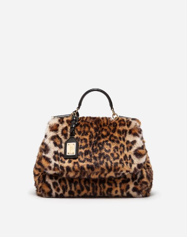 beeefc06eed Dolce & Gabbana Sicily Medium Leo Pellicciotto Faux-Fur Satchel Bag In  Leopard Print