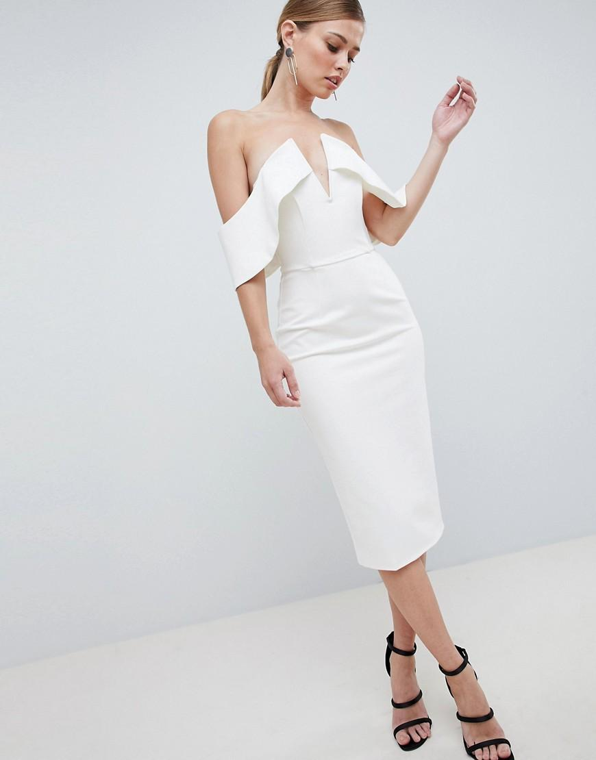 87ede8ee6d9 Lavish Alice Plunge Front Bandeau Midi Dress - White