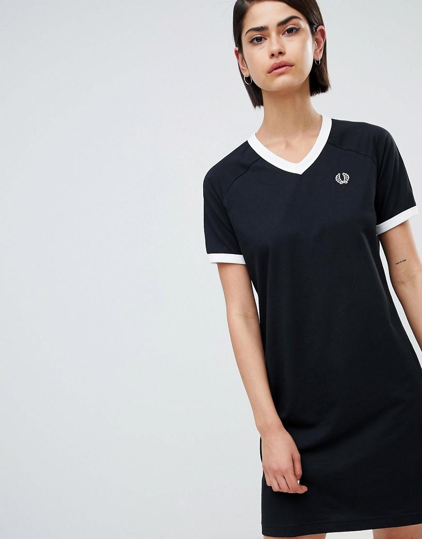 6fc0cedb6bc9 Fred Perry V-Neck Ringer T-Shirt Dress With Logo Tape - Black | ModeSens