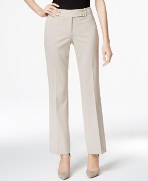 Calvin Klein Fit Solutions Curvy Straight-leg Trousers In Khaki