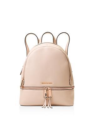 6bc353d0219f44 Michael Michael Kors Michael Kors Rhea Medium Zip Leather Backpack In Soft  Pink/Rose Gold