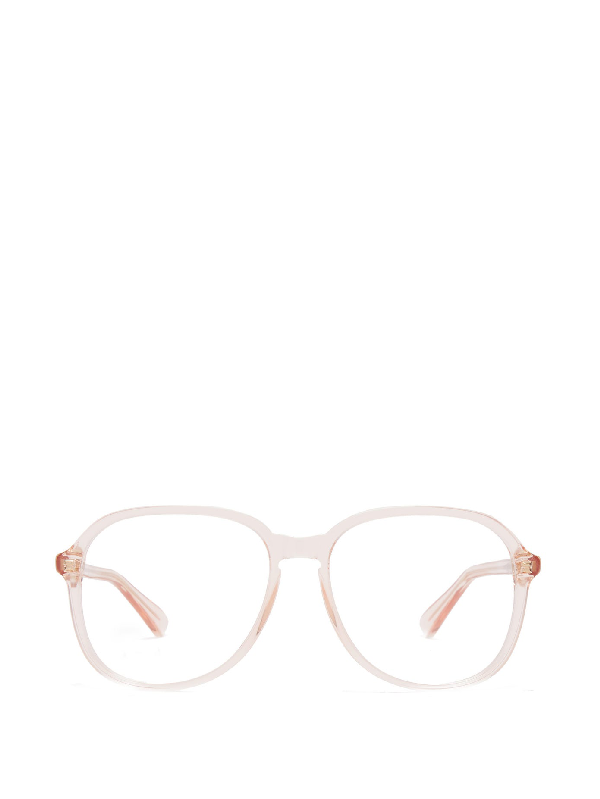 Gucci Square Frame Acetate Glasses In Light Pink