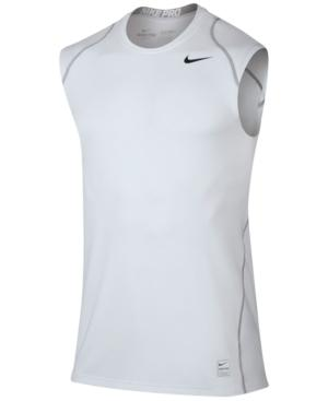 Nike Men's Pro Cool Dri-fit Fitted Sleeveless Shirt In White/black