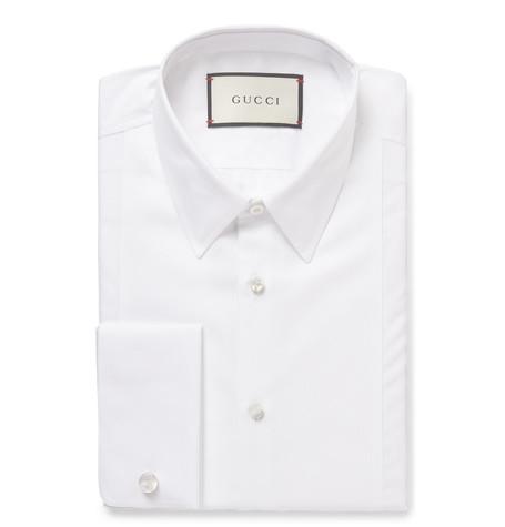 Gucci White Slim-fit Bib-front Double-cuff Cotton-poplin Shirt